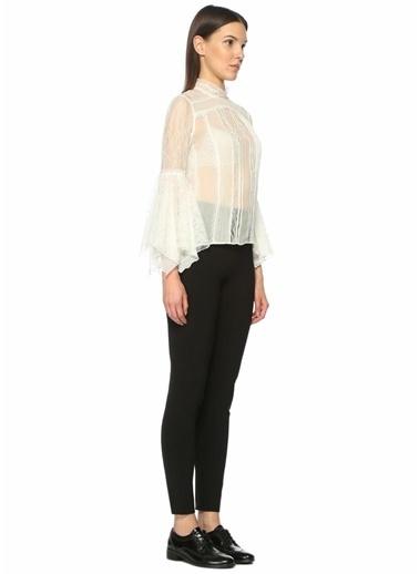 Alice+Olivia Sıfır Yaka Çan Kol Transparan Dantelli Bluz Beyaz